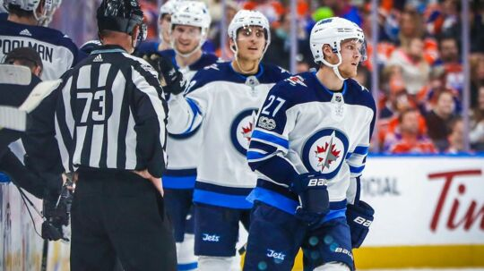 Oct 9, 2017; Edmonton, Alberta, CAN; Winnipeg Jets left wing Nikolaj Ehlers (27) celebrates his goal with teammates against the Edmonton Oilers during the second period at Rogers Place. Mandatory Credit: Sergei Belski-USA TODAY Sports