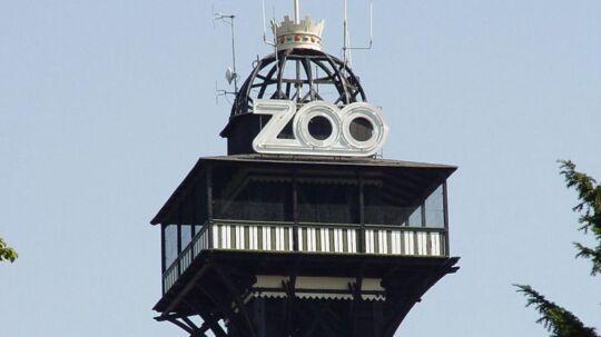 Tårnet i Zoologisk Have med Dannebrog.