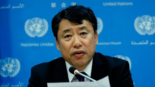 North Korea's deputy ambassador to the United Nations Kim In Ryong answers a question during a press conference at the UN headquarters in New York on May 19, 2017. US Ambassador to the UN Nikki Haley said on May 16, 2017 that the United States was working with China, Pyongyang's main ally, on a new sanctions resolution and warned that all countries must step up action against North Korea or face measures themselves. / AFP PHOTO / JEWEL SAMAD