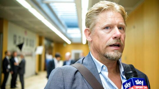 epa06171629 Former Danish goalkeeper Peter Schmeichel talks to journalists before the 19th Elite Club Coaches Forum at the UEFA Headquarters in Nyon, Switzerland, 30 August 2017. EPA/JEAN-CHRISTOPHE BOTT
