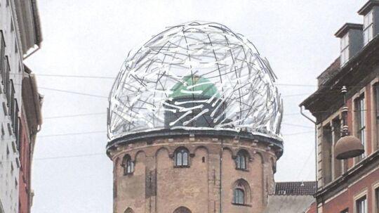 Her ses et konceptbillede af, hvordan trækuplen ville have set ud på Rundetårn i København.
