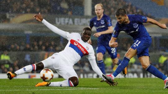 Det ser sort ud for Everton, der med nederlaget på 1-2 til Lyon ligger sidst i gruppen i Europa League. Scanpix/Lee Smith