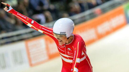 Trine Schmidt kort efter at hun har sikret sig sin guldmedalje