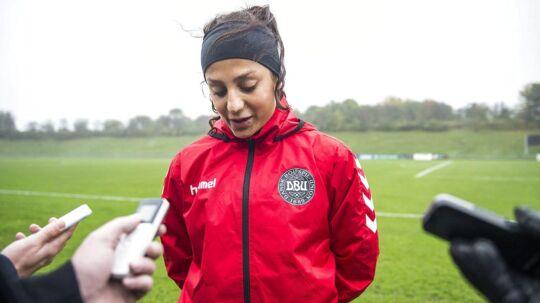 Nadia Nadim til fredagens landsholdstræning i Ballerup