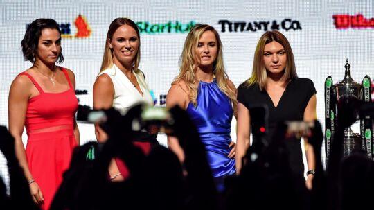 Caroline Garcia, Caroline Wozniacki, Elina Svitolina, Simona Halep. Den ene af de to grupper i sæsonfinalen.