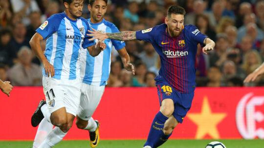 Lionel Messi og FC Barcelona vandt lørdag 2-0 hjemme over Malaga. Reuters/Albert Gea