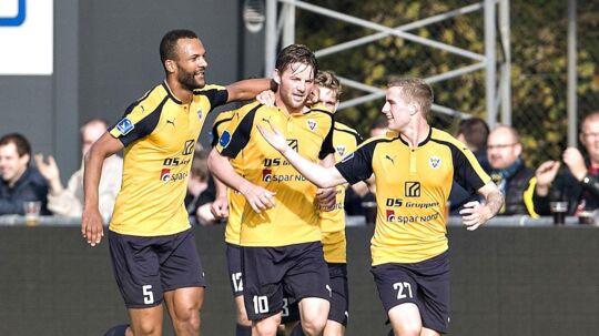 Hobros Pål Alexander Kirkevold har scoret til 1-0 for Hobro.