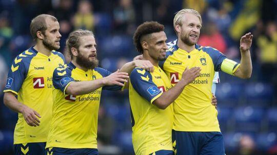 Hany Mukhtar, Johan Larsson, Teemu Pukki og Kasper Fisker kan ses i aktion for Brøndby på mandag. (Foto: Liselotte Sabroe/Scanpix 2017)