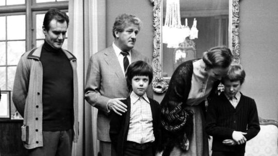 Prins Joachim, kronprins Frederik, dronning Margrethe og prins Henrik på godset Schackenborg i 1978