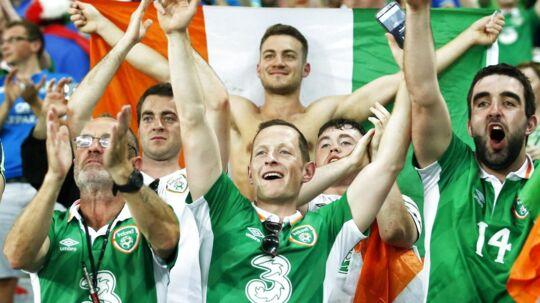 Irske fans synger højt under EM i Frankrig 2016. Arkivfoto.