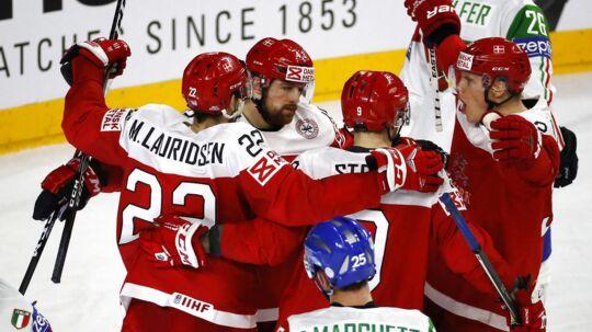 Den danske ishockeylandshold. Arkivfoto.