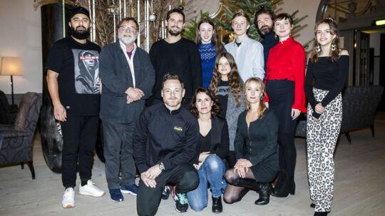 Hele skuespilholdet ved pressemøde på TV 2's familiejulekalender 'Tinkas juleeventyr' d. 18. nov. 2017.