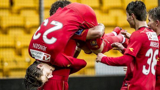 FC Nordsjælland jubler efter at FC Nordsjællands Emiliano Marcondes (10) har scoret på straffespark under Alka Superliga-kampen mellem FC Nordsjælland og AC Horsens på Right to Dream Park i Farum, søndag den 26. November 2017.