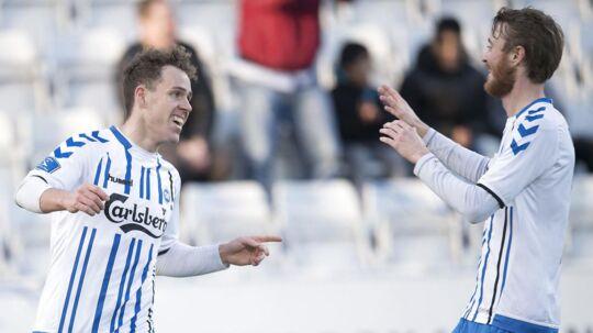 Anders K. Jacobsen (til venstre) scorede til 2-0. (Foto: Claus Fisker/Scanpix 2017)