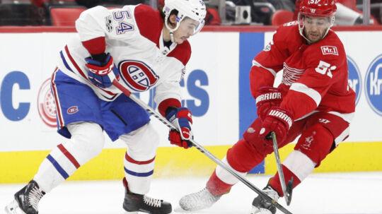 Frans Nielsens scoring mod Montreal Canadiens var ikke nok til at sikre Detroit Red Wings point i nattens opgør. Scanpix/Raj Mehta