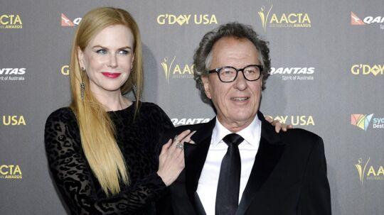 Geoffrey Rush (th) med en anden superstjerne i form af Nicole Kidman i 2015.
