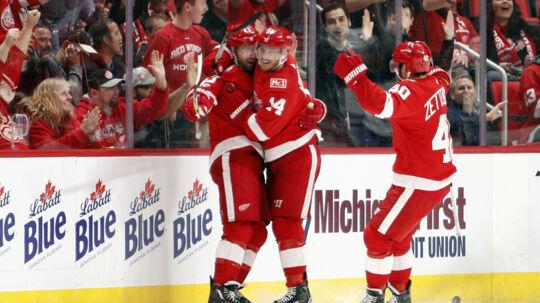 Detroit Red Wings havde mest at juble over, da holdet slog Winnipeg Jets i NHL. Scanpix/Raj Mehta