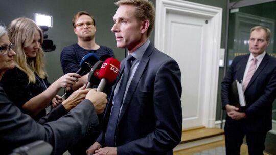 Kristian Thulesen Dahl (DF) efter mødet onsdag aften d. 6. december 2017 med Lars Løkke Rasmussen (V) i Statsministeriet om hvordan forhandlingerne om en skattereform og finansloven skal fortsætte. (Foto: Bax Lindhardt/ Scanpix)