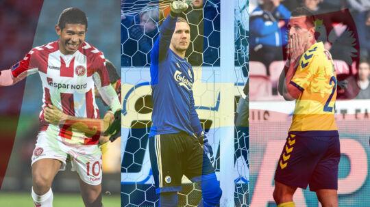 Flere Superliga-spillere står til at blive udtaget til deres respektive landshold til VM-slutrunden i Rusland. Og det kommer flere af Superliga-klubberne til at tjene penge på. Fra venstre er det AaBs peruvianske landsholdsspiller, Edison Flores, FCKs svenske landsholdskeeper Robin Olsen og Brøndbys polske landsholdsspiller, Kamil Wilczek