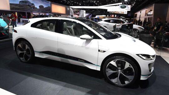 Billeder af den nye Jaguar I-PACE, da den blev vist frem på LA Auto Show i Los Angeles, California, i november 2017. / AFP PHOTO / Mark RALSTON