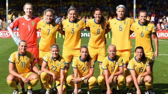 Det svenske fodboldforbund er utilfredse med, at Danmark brugte kampen mod Sverige som våben, og derfor har de anket den dom, som Danmark fik for at udeblive fra VM-kvalifikationskampen for nylig..Her ses det svenske landshold under sommerens EM-slutrunde.