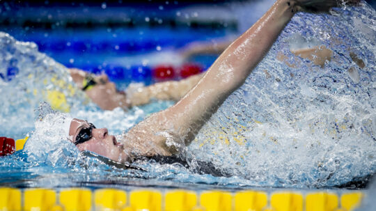 Mie Ø. Nielsen svømmede sig onsdag aften i finalen i 100 meter rygsvømning. Finalen svømmes torsdag. Scanpix/Mads Claus Rasmussen