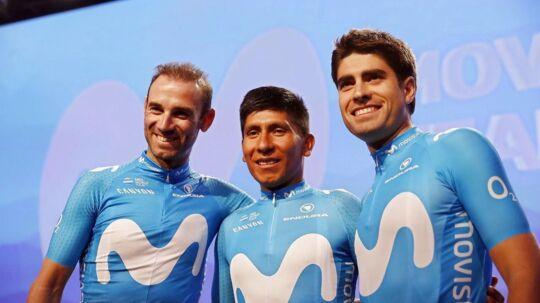 Præsentation af Movistars hold for sæsonen 2018. Fra venstre: Alejandro Valverde, Nairo Quintana og Mikel Landa.