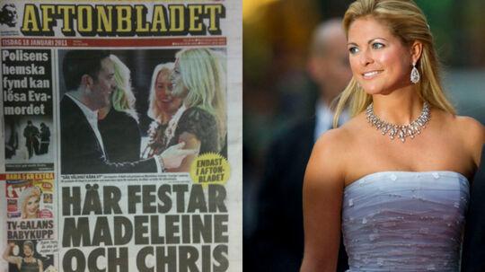Madeleine og Christopher O'Neill på forsiden af Aftonbladet tirsdag. Billedet er fra en begivenhed i Stockholm.