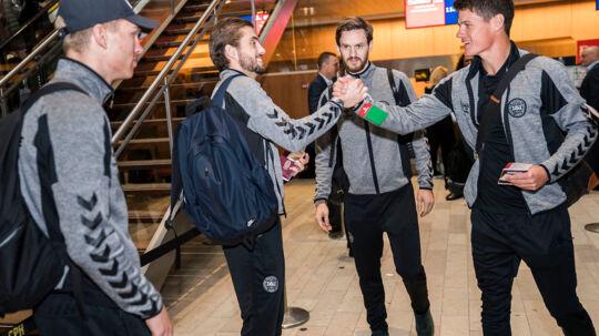 Jacob Poulsen og Christian Nørgaard tager med Ligalandsholdet til Abu Dhabi fra Kastrup Lufthavn lørdag d. 6. januar 2017.. (Foto: Martin Sylvest/Scanpix 2018)