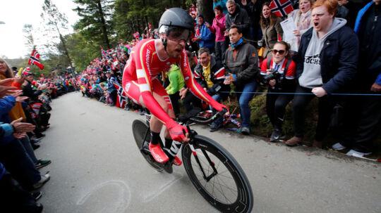 Martin Toft Madsen kørte 52,574 kilometer på en time torsdag. Reuters/Ntb Scanpix/arkivfoto