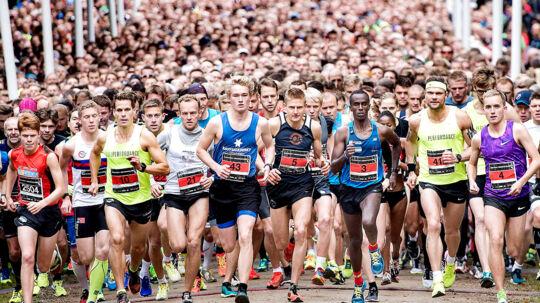 Så vildt ser det ud, når 12.500 løbere sætter i gang til det årlige Eremitageløb.