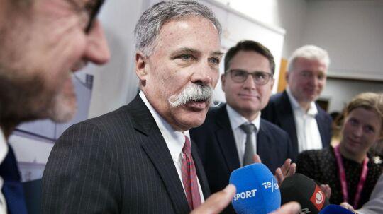 Den øverste chef for Formel 1's ejere Chase Carey mødes med initiativtagerne Helge Sander og Lars Seier Christensen hos erhversminister Brian Mikkelsen.