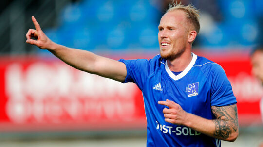 Lyngbys Mikkel Rygaard jubler efter scoring til 1-0 på straffei torsdagens Europa League-kamp på Lyngby stadion mellem Lyngby Boldklub og Slovan Bratislava. /ritzau/Jens Dresling.