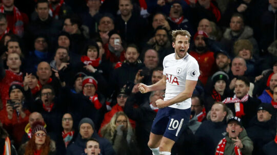 """Soccer Football - Premier League - Liverpool vs Tottenham Hotspur - Anfield, Liverpool, Britain - February 4, 2018 Tottenham's Harry Kane celebrates scoring their second goal Action Images via Reuters/Carl Recine EDITORIAL USE ONLY.No use with unauthorized audio, video, data, fixture lists, club/league logos or """"live"""" services. Online in-match use limited to 75 images, no video emulation.No use in betting, games or single club/league/player publications. Please contact your account representative for further details."""