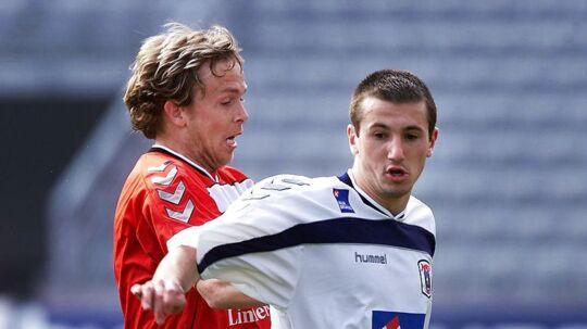 Liam Miller (t.h), da han spillede i AGF i 2002