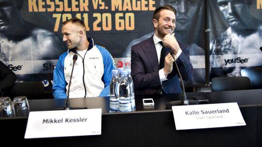 Mikkel Kessler og hans promotor Kalle Sauerland før danskerens VM-kamp mod Magee.