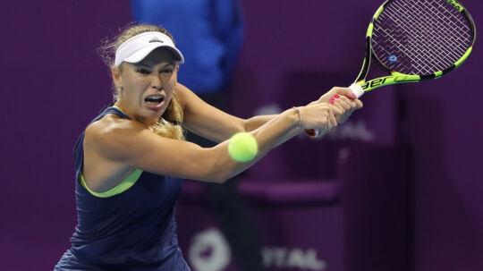 Caroline sled sig tilbage i både første og tredje sæt og slog Angelique Kerber i kvartfinalen i Qatar. Scanpix/Karim Jaafar