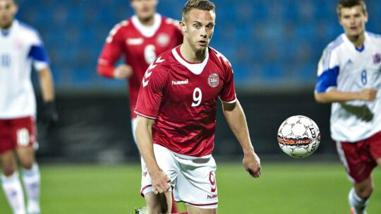 Marcus Ingvartsen har spillet 17 kampe for det danske U21-landshold, og han var med på bænken i Rumænien i Danmarks 0-0-kamp i VM-kvalifikationen.