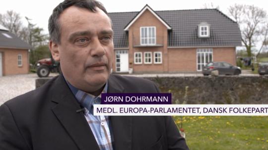 Jørn Dohrmann blev interviewet på sin gårdsplads efter at have været til kammeratlig samtale med sin gruppeformand Peter Skaarup.
