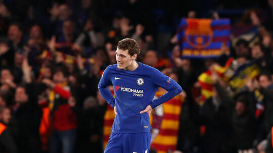 Soccer Football - Champions League Round of 16 First Leg - Chelsea vs FC Barcelona - Stamford Bridge, London, Britain - February 20, 2018 Chelsea's Andreas Christensen looks dejected after Barcelona's Lionel Messi scores their first goal REUTERS/David Klein