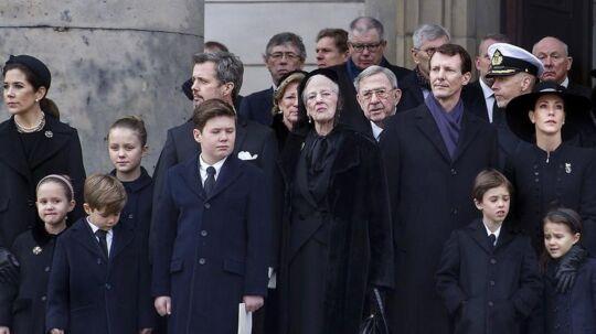 Den kongelige familie udenfor kirken efter Prins Henrik bisættelse fra Christiansborg Slotskirke tirsdag den 20 februar 2018.
