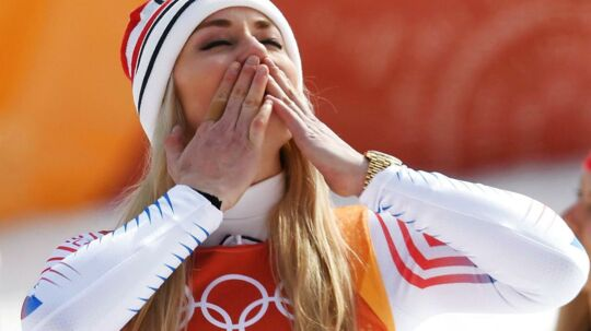 Lindsey Vonn sender et kys til hele verden.
