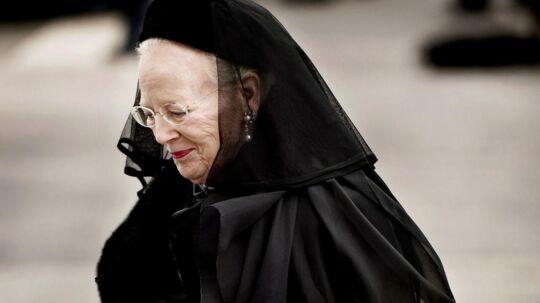 Dronning Margrethe i forbindelse med prins Henriks bisættelse.
