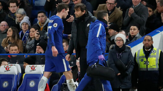 Antonio Conte har stor tillid til Andreas Christensen, selv om danskeren begik en stor fejl i Champions League-kampen mod Chelsea. Reuters/David Klein