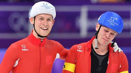 Viktor Hald Thorup og Stefan Due Schmidt skøjter sammen efter OL-finalen i fællesstart. Scanpix/Mladen Antonov