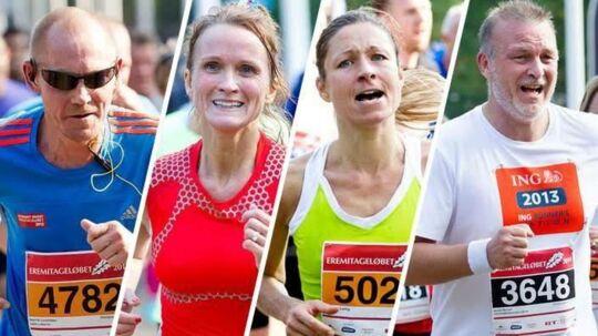 Anne-Mette Lindgaard, nr. 2 fra venstre på billedet, der var på forsiden af bt.dk 5. oktober 2014. På Køge-løberens 46 års fødselsdag. Foto: Scanpix
