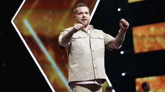 Værten Joakim under X Factor liveshow fra DR Byen, fredag den 2. marts 2018. (Foto: Martin Sylvest/Scanpix 2018)
