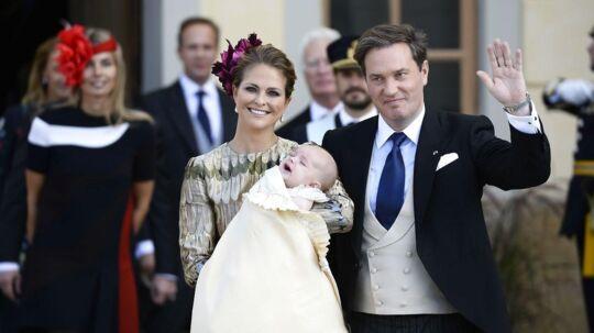 Prinsesse Madeleine og Chris O'Neill har netop fået deres tredje barn. Her ses de ved dåben af deres søn prins Nicolas i Stockholm i 2015.