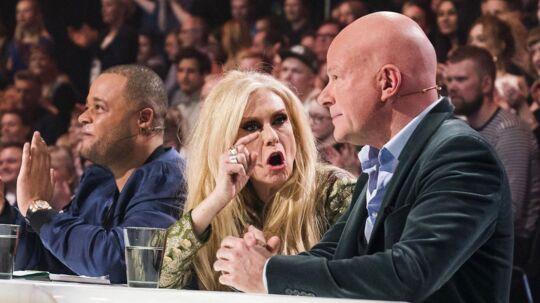 Dommerne, Remee, Sanne og Blachmann. X Factor 11, liveshow 4 fredag den 16. marts 2018. (foto: Martin Sylvest/Scanpix Ritzau 2018)