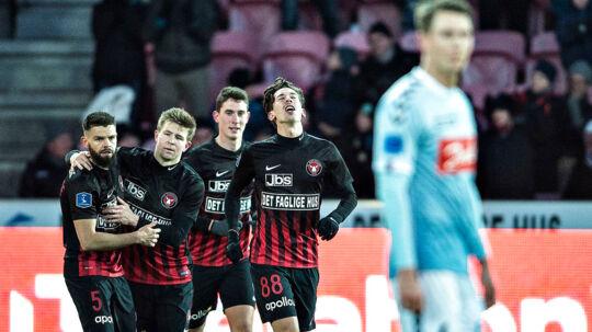 FC Midtjylland s Gustav Wikheim har scoret til 2-1 i Alka Superliga-kampen FC Midtjylland mod SønderjyskE på MCH-Arena i Herning, 18. marts 2018.